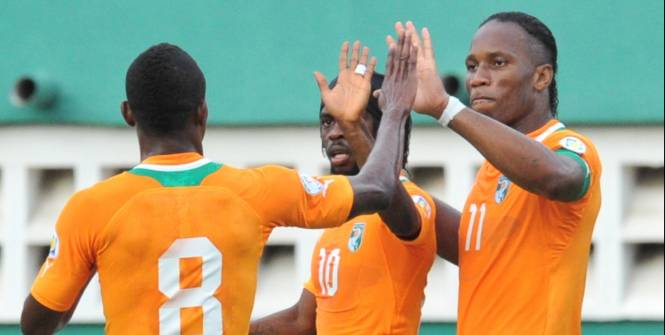 Didier Drogba, Salomon Kalou et Gervinho, le trio gagnant des Eléphants. (AFP)