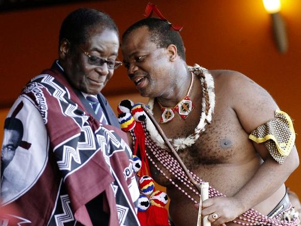 Robert Mugabé et le roi Mswati III du Swaziland